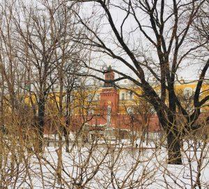 מבנים צבעוניים במוסקבה על רקע שלג לבן צחור מבין ענפי צמחים נטולי עלים