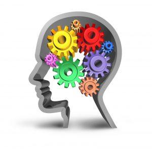 תרשים של ראש אדם בפרופיל רקע פנימי לבן בתוך תרשים ראש מקווי מתאר אפורים. מוח האדם בתרשים עשוי מגלגלי שיניים צבעוניים. התמונה מתארת את יכולת האדם ליצור מצבי חשיבה שונים ולבחור את האופן בו הוא תופס את המצבים בחייו. על ידי כך לנוע מכל מצב מאתגר למצב של צמיחה והצלחה.